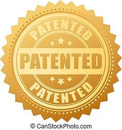 patenteado, vetorial, selo, ouro, ícone