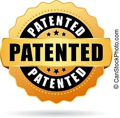 patenteado, vetorial, selo ouro