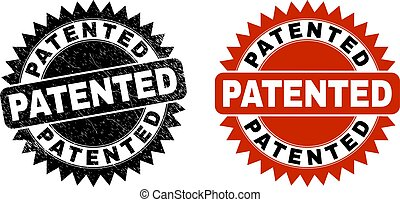 PATENTED Black Rosette Stamp with Corroded Surface