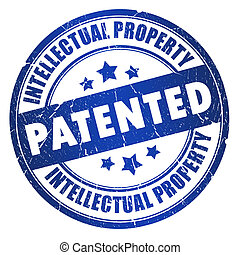 Patented intellectual property stamp isolated on white