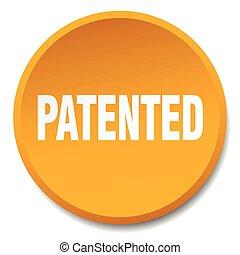 patented orange round flat isolated push button