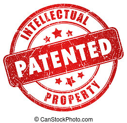 Patented stamp illustration over white