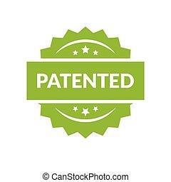 Patented stamp vector label, flat cartoon patent badge...