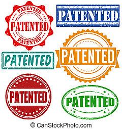 patentiert, briefmarken, satz