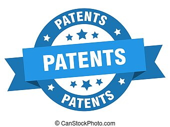 patents round ribbon isolated label. patents sign