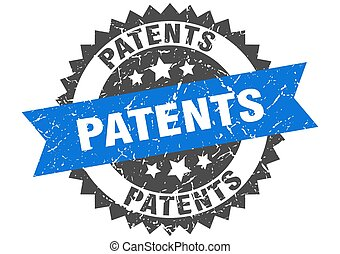 patents stamp. grunge round sign with ribbon - patents stamp...