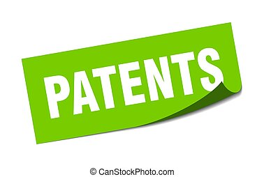 patents sticker. square isolated label sign. peeler - ...