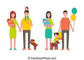 paternité, famille, vecteur, enfance, illustration