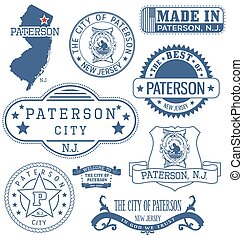 Paterson city, NJ, generic stamps and signs - Paterson city...