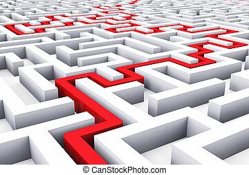 Path across endless labyrinth