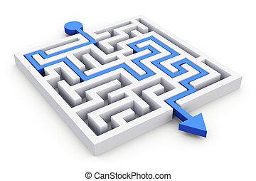 Path across labyrinth - Blue path across white labyrinth...