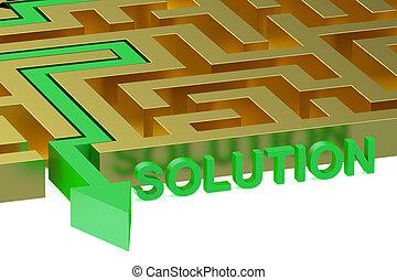 Path across labyrinth, solution concept