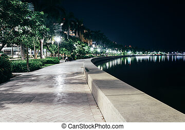 Path along the Intracoastal Waterway at night in West Palm Beach