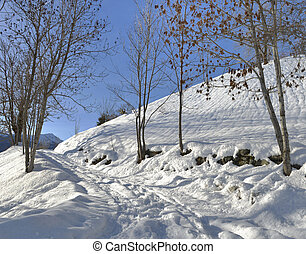 path covered with snow in alpine mountain
