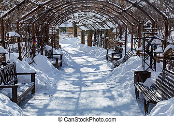 Trampled path for walking pedestrians in a snowbound winter city park