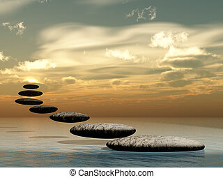 Path form zen stone to sun.Stock pebble rock on water and...