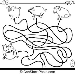 path game coloring page - Black and White Cartoon...