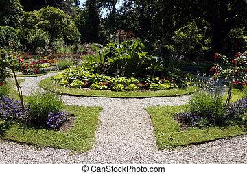 Path in garden, flowers, grass