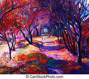 Original oil painting showing beautiful sunset landscape. Autumn forest and sun rays . Modern Impressionism
