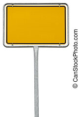 path), isolé, signe jaune, vide, blanc, (clipping