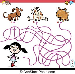 path maze activity cartoon - Cartoon Illustration of...