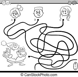path maze activity for coloring - Black and White Cartoon ...