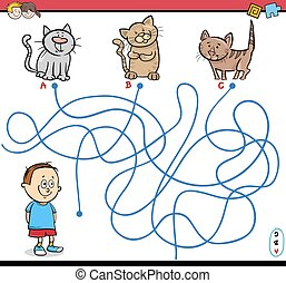 path maze activity illustration - Cartoon Illustration of...