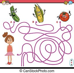 path maze activity task - Cartoon Illustration of...