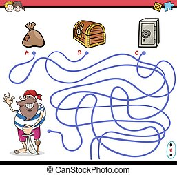 path maze activity with pirate - Cartoon Illustration of...