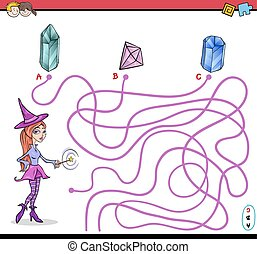 path maze activity with witch