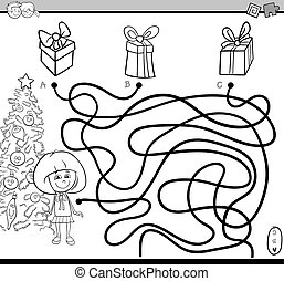 path maze bame coloring page - Black and White Cartoon ...