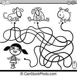 path maze coloring activity - Black and White Cartoon ...