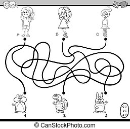 path maze coloring book - Black and White Cartoon ...