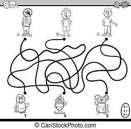path maze coloring page - Black and White Cartoon...