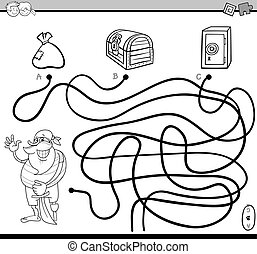 path maze for coloring - Black and White Cartoon ...
