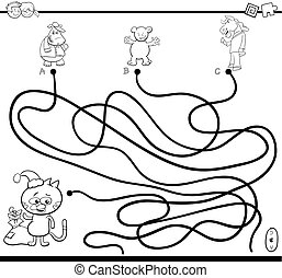 path maze game coloring page - Black and White Cartoon...