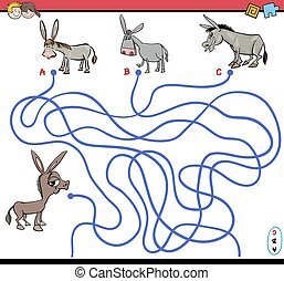 path maze game with donkey - Cartoon Illustration of Paths...