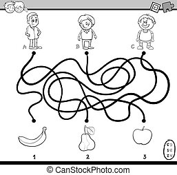path maze task coloring book - Black and White Cartoon...