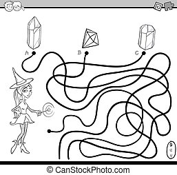 path maze task coloring page - Black and White Cartoon ...