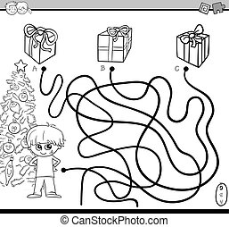 path maze task for coloring - Black and White Cartoon ...