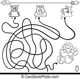 path maze with pigs and apples color book - Black and White...