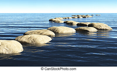a path made of stones that stay above the surface of deep water, winds toward a unknown destination in a sunny day