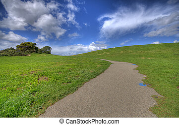 Path on green landscape