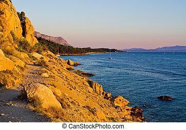 Path on rocky Croatian seashore