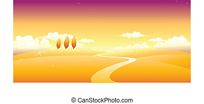 Path over landscape - This illustration is a common natural ...