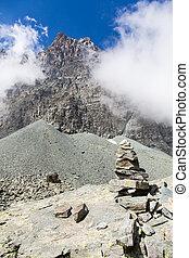 Path sign on Italian Alps - Italy, Monviso mountain. A path...