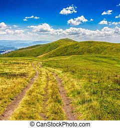 path through mountain landscape - mountain landscape. curve...