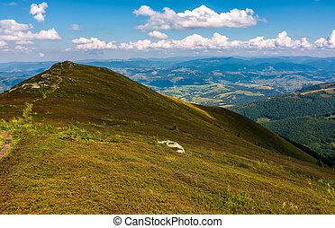 path through mountain ridge in high altitude. beautiful...