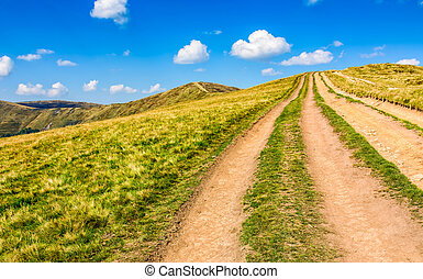 path through the mountain ridge in summer - summer mountain...