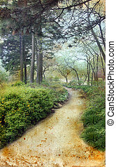 Path Through the Pines on Grunge Background